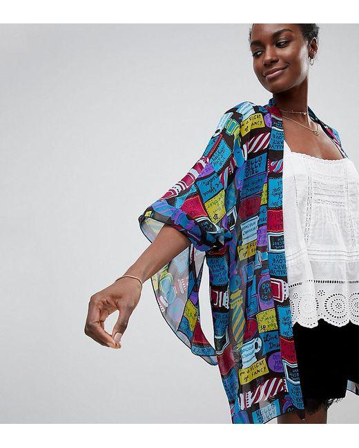 Anna Sui - Blue Exclusive Slogan Kimono - Lyst