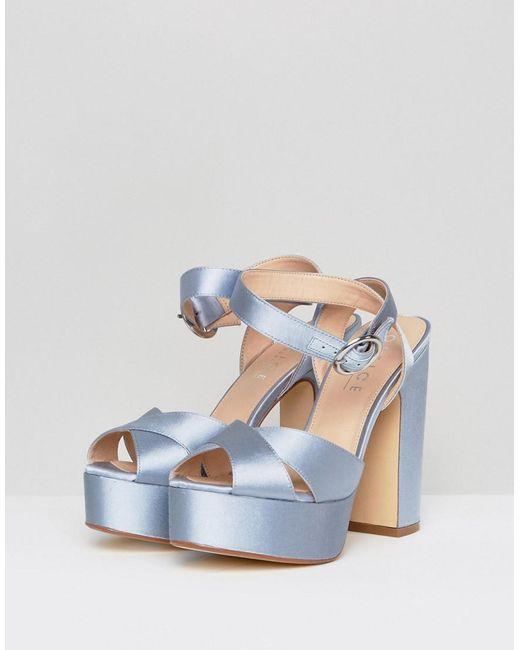 Harley Satin Platform Sandals - Blue Office gmx4j3TqL