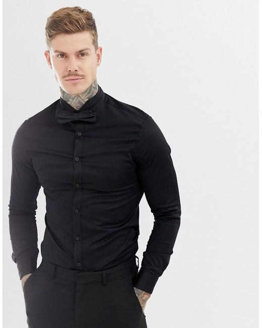 ASOS - Black Skinny Sateen Shirt With Wing Collar for Men - Lyst