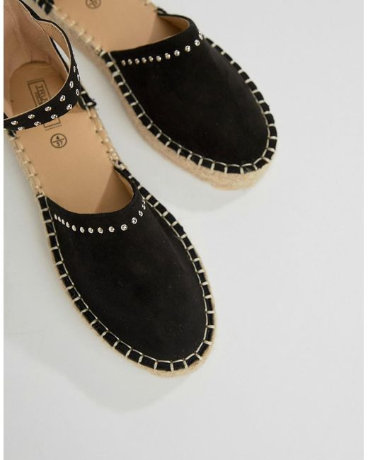 Truffle Collection - Black Studded Espadrille - Lyst