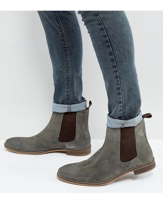 ASOS | Gray Wide Fit Chelsea Boots In Grey Suede | Lyst