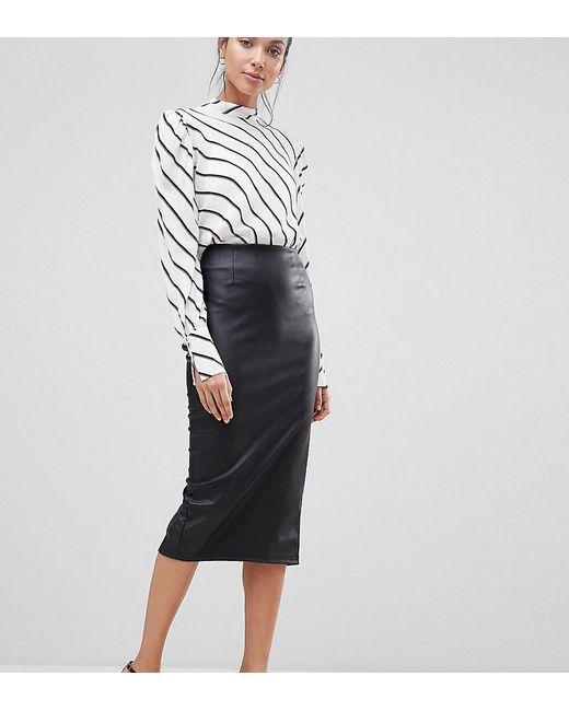 db71a73c3b49 ASOS - Black Asos Design Tall Sculpt Me Leather Look Midi Skirt - Lyst ...