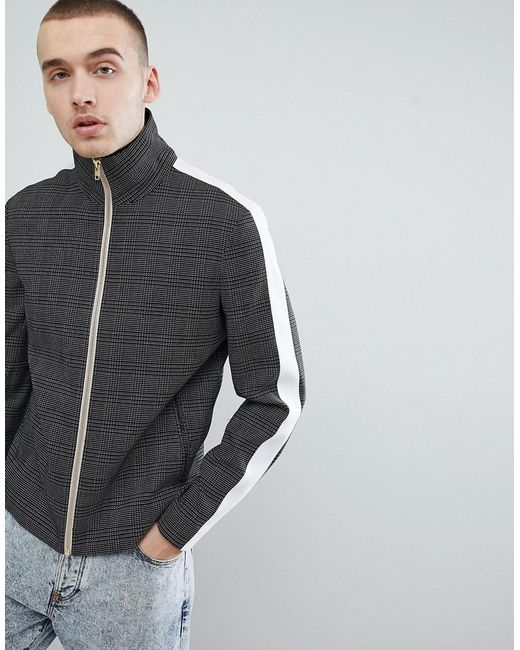 ASOS - Slim Smart Track Jacket In Black Micro Check With Side Stripes for Men - Lyst