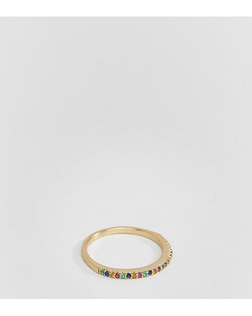 Shashi - Metallic 18k Gold Plated Rainbow Pave Ring - Lyst