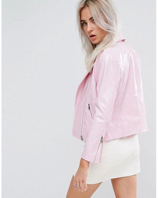 Boohoo Vinyl Biker Jacket in Pink | Lyst