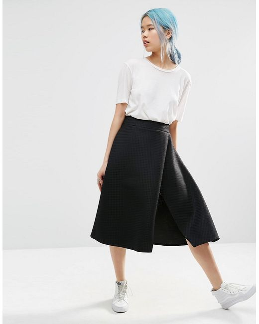 asos textured split midi skirt in black lyst