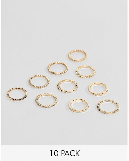 ASOS - Metallic Pack Of 10 Rings In Engraved And Twist Design In Gold - Lyst