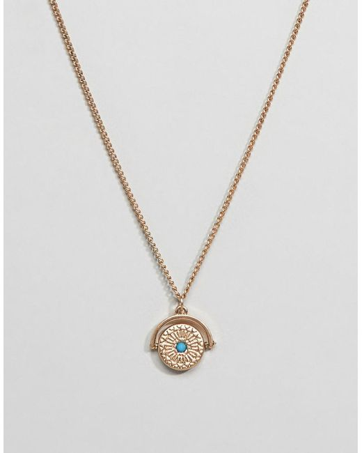 ASOS - Metallic Necklace In Gold Tone With Spinner And Stone Detail for Men - Lyst