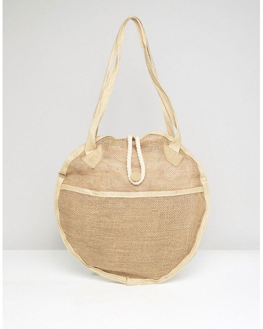 ASOS | Brown Beach Jute Circular Shopper Bag | Lyst