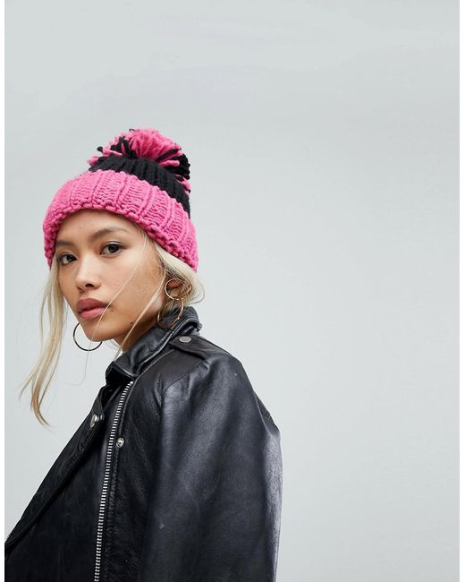 Helene Berman - Turn Up Beanie With Oversized Pom Pom In Pink - Lyst