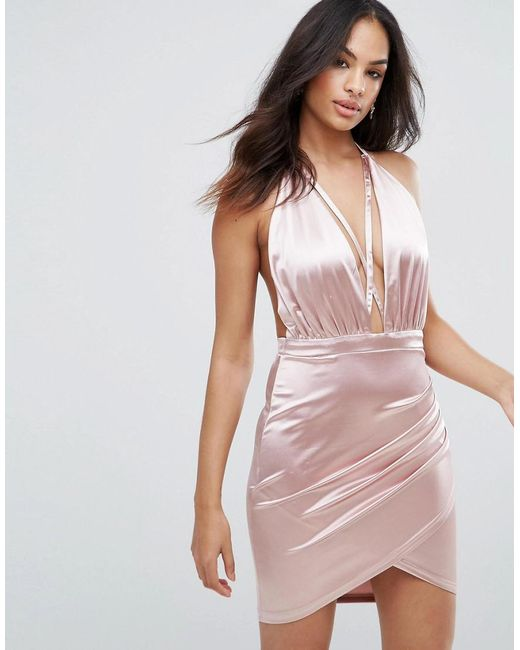 Ax Paris Satin Halterneck Dress With Ruched Detail Looking For Cheap Online Free Shipping Nicekicks Cheap Footlocker Finishline Best Store To Get Cheap Price Outlet Best Prices AJGTJ6