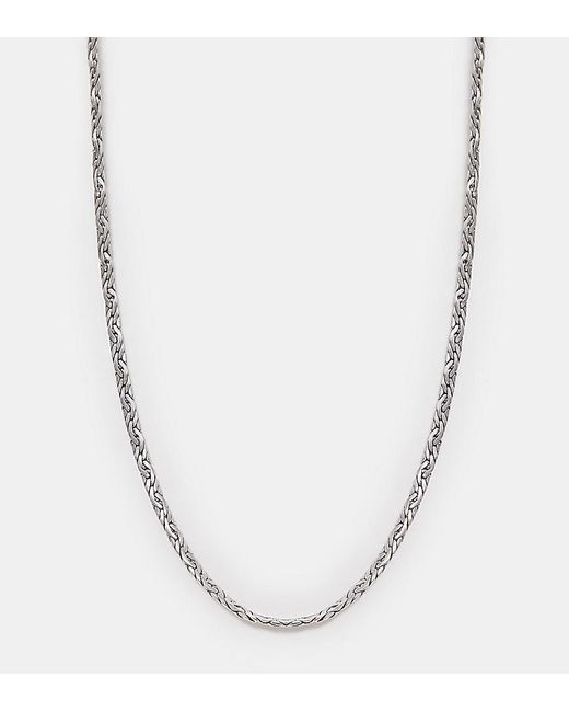 Reclaimed (vintage) - Metallic Inspired Flat Chain Detail Necklace In Silver Exclusive To Asos for Men - Lyst