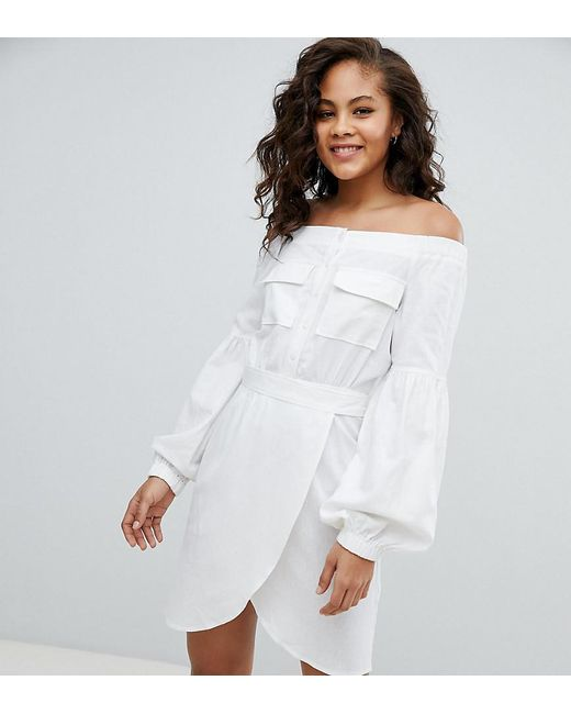 51b44ebf18b ASOS - White Asos Design Tall Off Shoulder Linen Mini Dress With Belt  Detail - Lyst ...