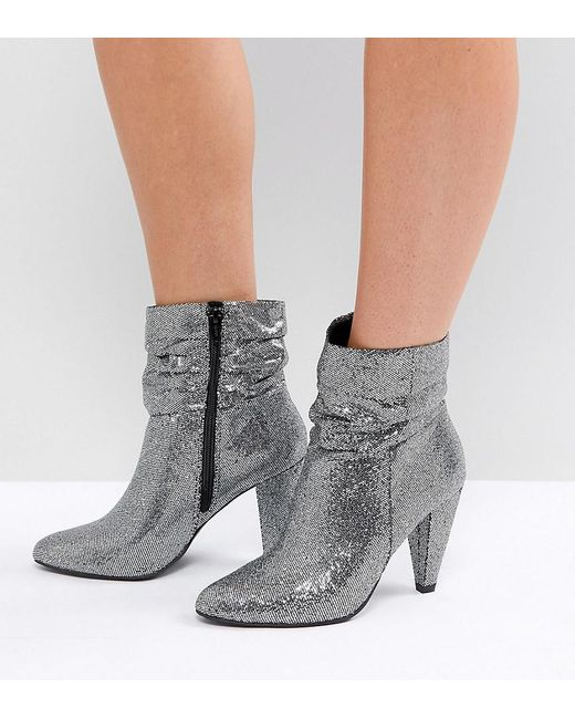 New Look Wide Fit Silver Glitter Boots In Metallic Save