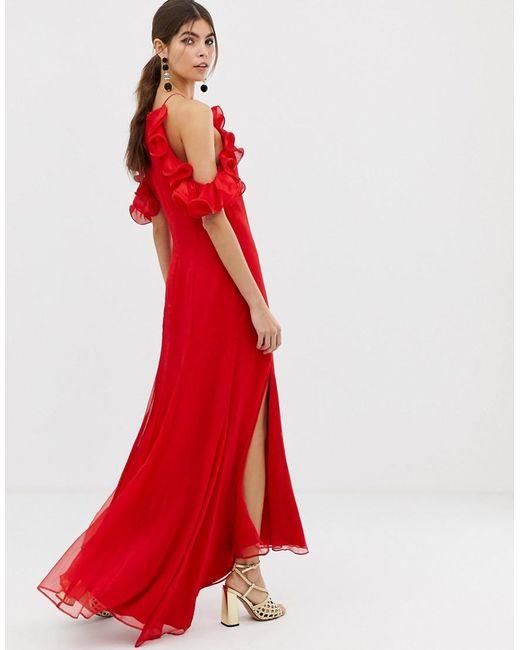 75039f27d66 ... Keepsake - Red Embrace Ruffle Gown - Lyst