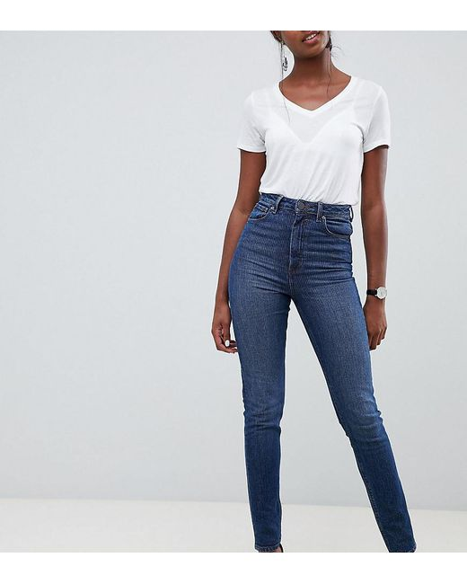 cd1f27033a4 ASOS - Blue Asos Design Tall Farleigh High Waist Slim Mom Jeans In Dark Wash  Textured ...