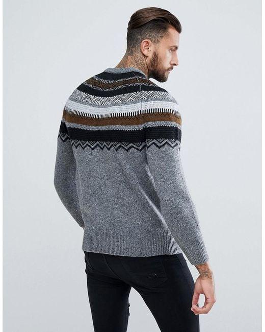 Lyst - Pull&bear Fair Isle Jumper In Grey in Gray for Men