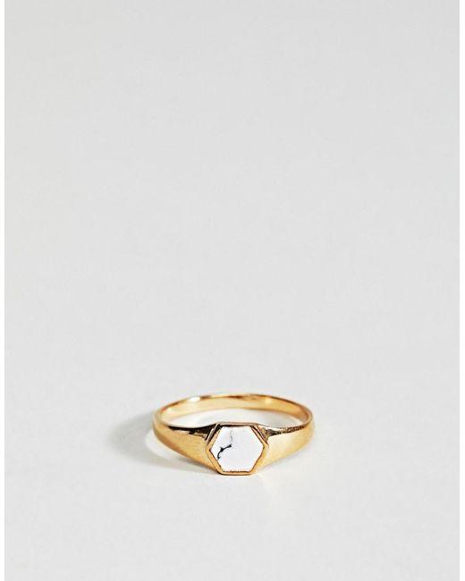 Asos DESIGN Faux Marble Engraved Ring - Silver AjE8iz