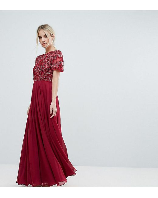 ASOS | Red Geo Embellished Maxi Dress | Lyst