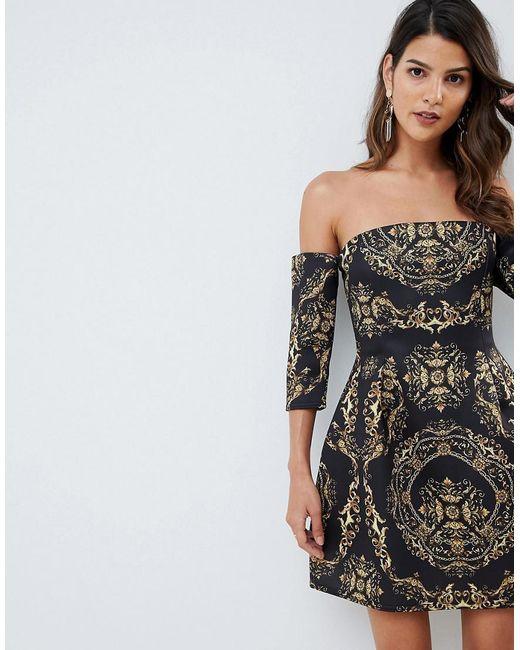 4ca3cc38ff ASOS - Black Bardot Mini Dress In Chain Print - Lyst ...
