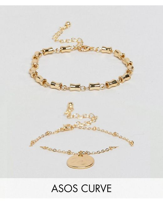 ASOS | Metallic Pack Of 2 Chain Link And Disc Bracelets | Lyst