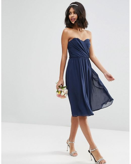 Asos Wedding Chiffon Bandeau Midi Dress In Blue (Navy)