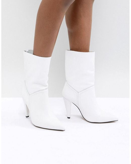 ASOS - White Asos Ellina Leather Ankle Boots - Lyst