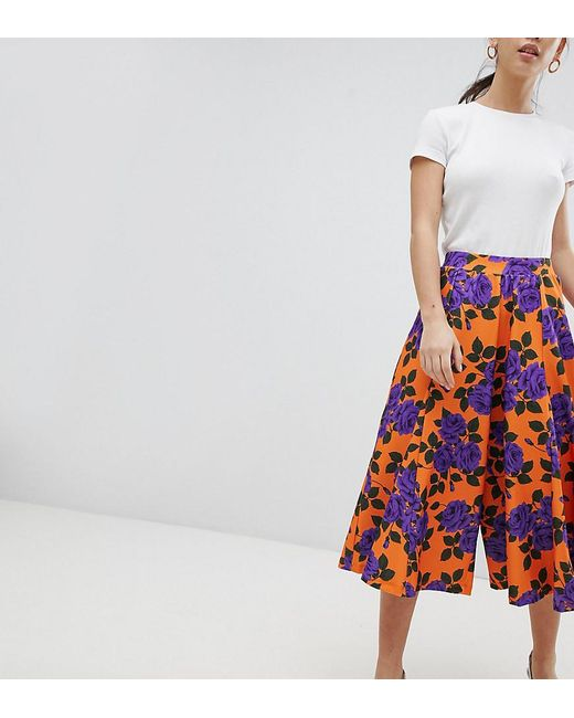 ASOS - Wide Leg Culottes With Flowing Hem In Orange Floral Print - Lyst