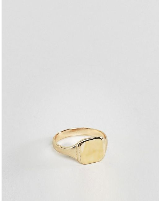 ASOS - Metallic Gold Plated Pinky Ring for Men - Lyst
