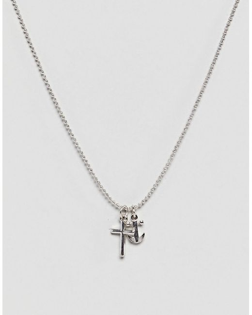 Icon Brand - Metallic Fine Chain Necklace With Cross Pendant for Men - Lyst