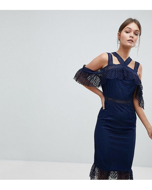 PRETTYLITTLETHING - Blue Lace Strappy Midi Dress - Lyst