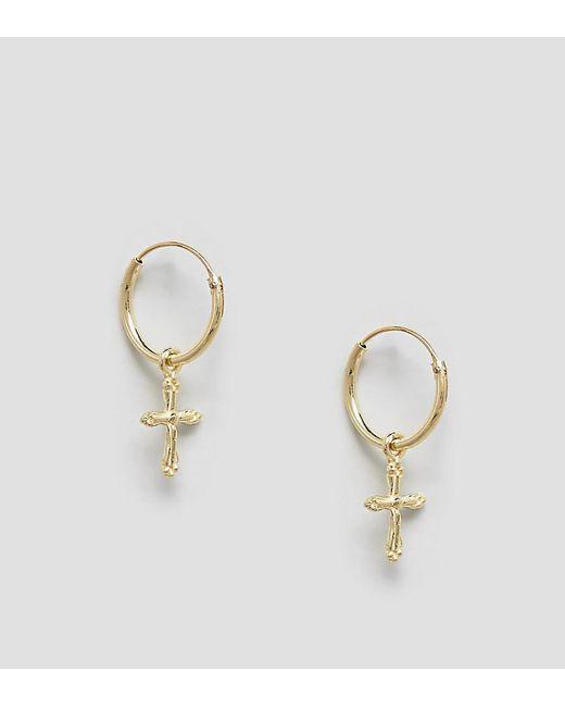 Kingsley Ryan - Metallic Sterling Silver Gold Plated Ornate Drop Cross Hoop Earrings - Lyst