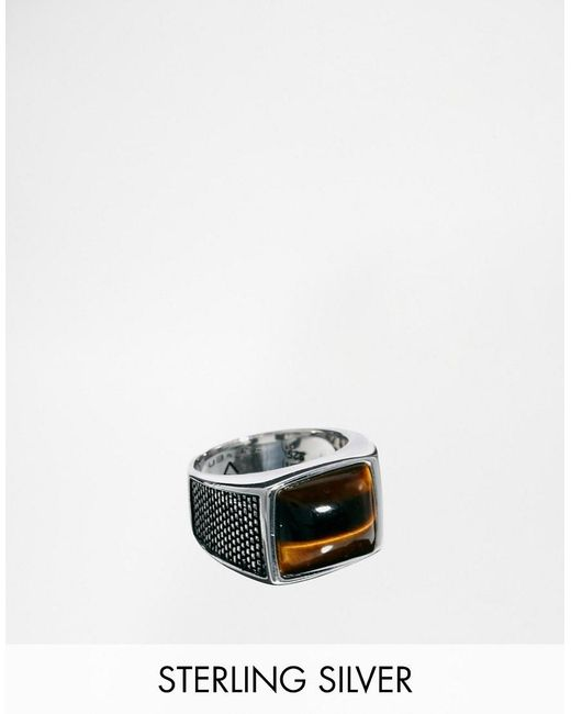 Seven London | Metallic Sterling Silver Tigers Eye Ring for Men | Lyst