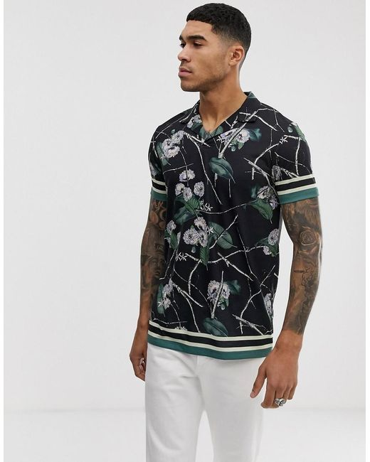 ASOS Black Revere Collar Polo With All Over Floral Print for men