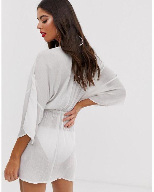 7fa68081df ... ASOS - Asos Design Tall Plunge Tie Waist Kimono Sleeve Crinkle Beach  Cover Up In White
