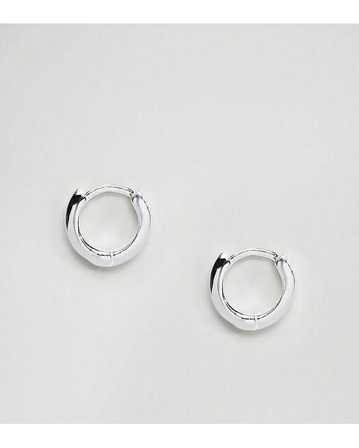 ASOS - Metallic Sterling Silver Hinged Hoop Earrings - Lyst