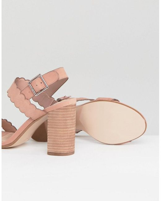 Dune Two Part Block Heel Scalloped Leather Sandal in Blush 8A6GbAsR