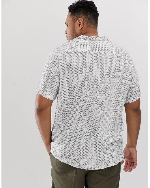 95a015c6546 ... Jack   Jones - White Premium Plus Size Revere Collar Shirt In Ditsy  Print for Men