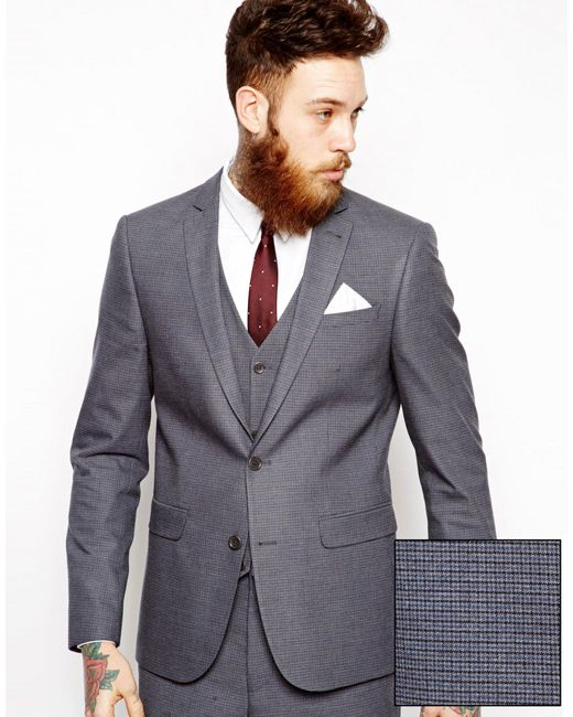Asos slim fit suit jacket in mini houndstooth in blue for men lyst