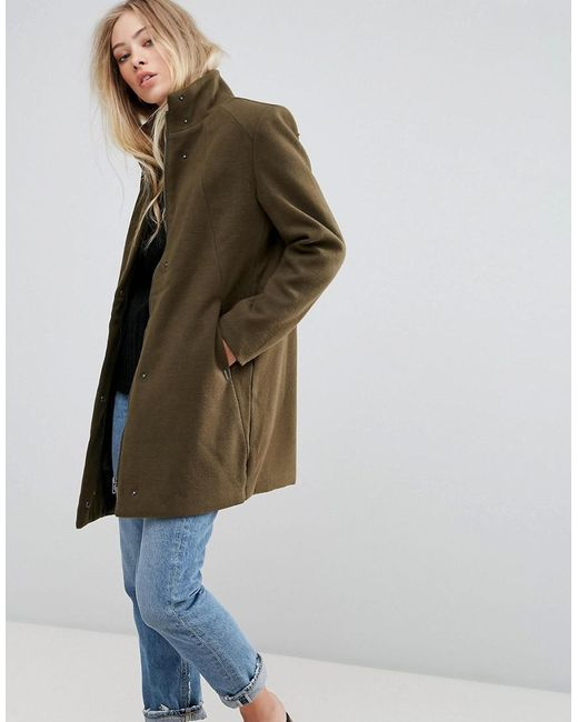 B.Young | Green Funnel Neck Coat | Lyst