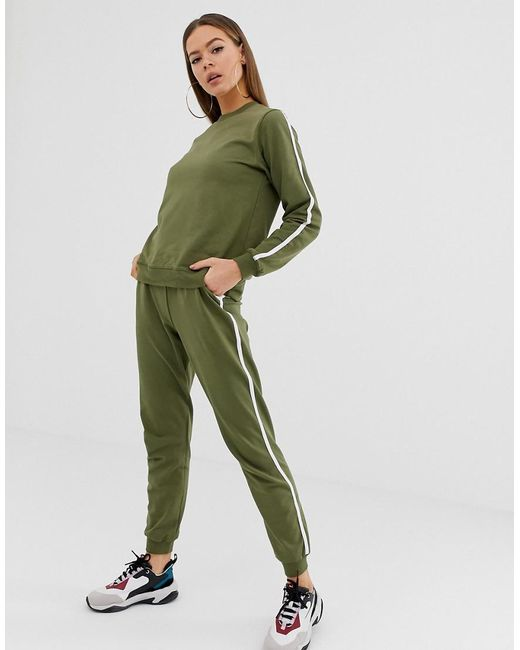 sélection premium 5a3f0 9532d Women's Green Asos Design Petite Tracksuit Cute Sweat / Basic jogger With  Tie With Contrast Binding