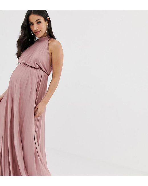 76bc0b1104754 ASOS - Pink Asos Design Maternity High Neck Pleated Maxi Dress - Lyst ...