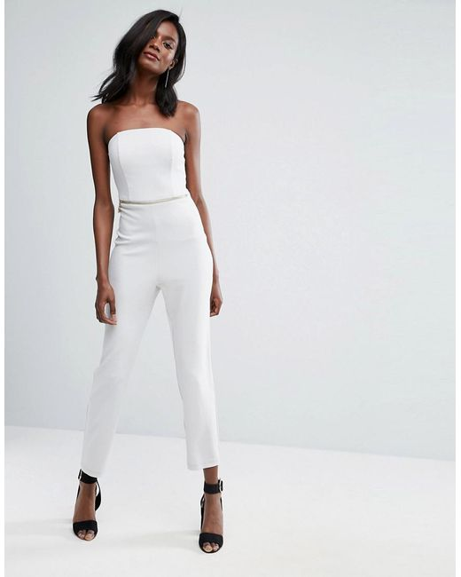 ASOS - Gray Bandeau Jumpsuit With Hardware Detail - Lyst
