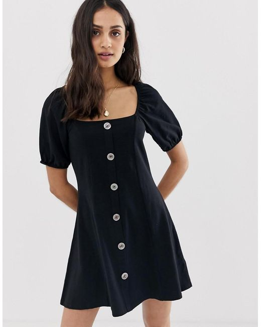 84dbc5feb63 ASOS - Black Slubby Mini Tea Dress With Faux Shell Buttons - Lyst ...