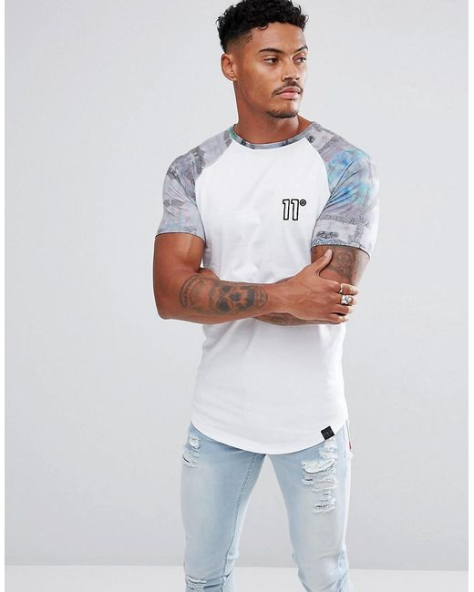 11 Degrees - Muscle T-shirt In White With Printed Sleeves for Men - Lyst