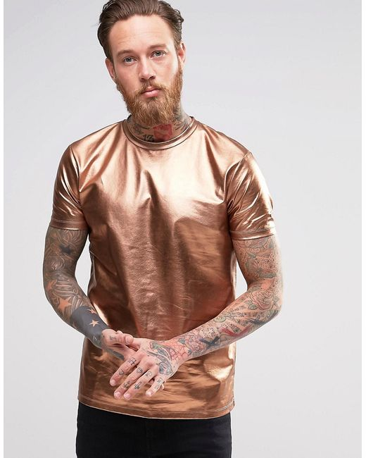 asos t shirt in metallic bronze in gold for men bronze