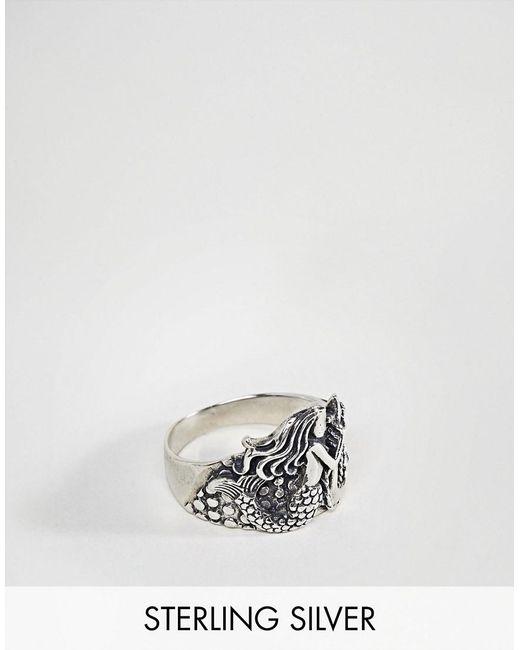ASOS - Metallic Sterling Silver Ring With Mermaid Design - Lyst