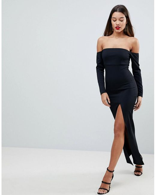 79abe798e11 ASOS - Black Asos Bardot Scuba Maxi Dress With Thigh Split - Lyst ...