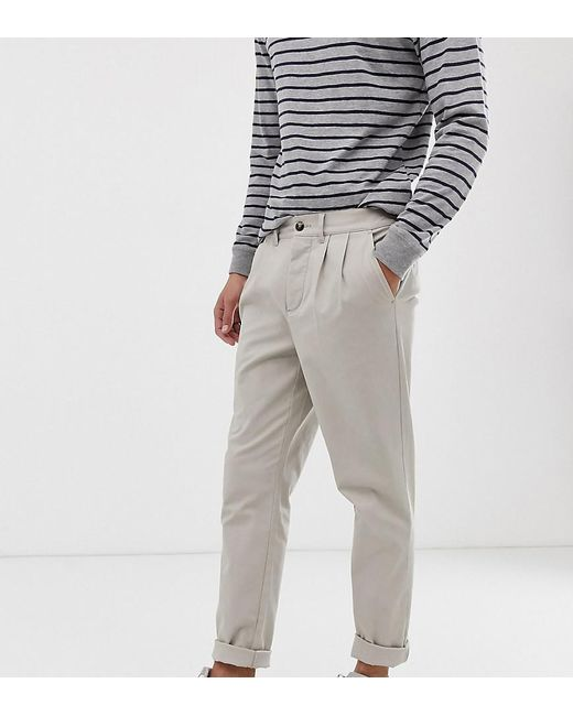 921116f50a4044 ASOS - Natural Tall Cigarette Chinos With Pleats In Beige for Men - Lyst ...