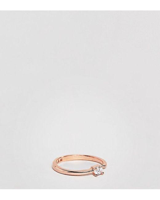 Astrid & Miyu - Metallic 18k Rose Gold Plated Crystal Detail Ring - Lyst